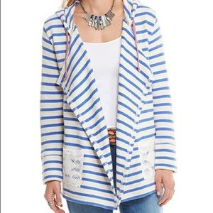 Matilda Jane blue striped midway cardigan hoodie